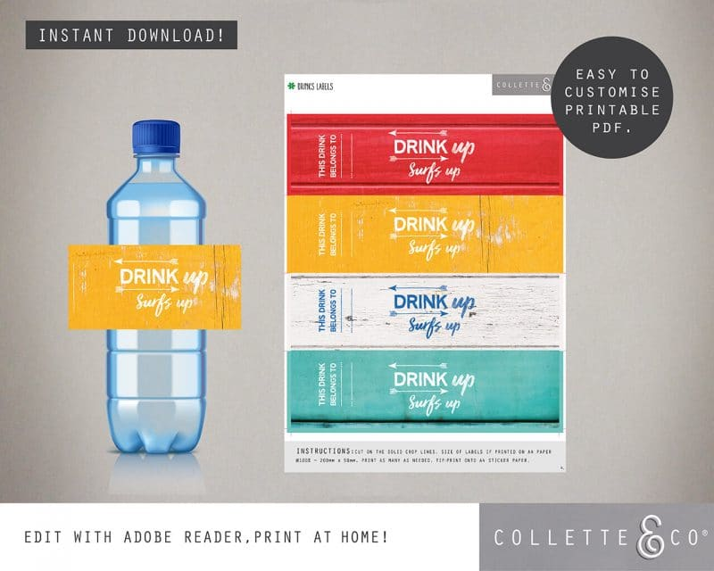 Printable Beach Party Drinks Label Editable Collette and Co 2
