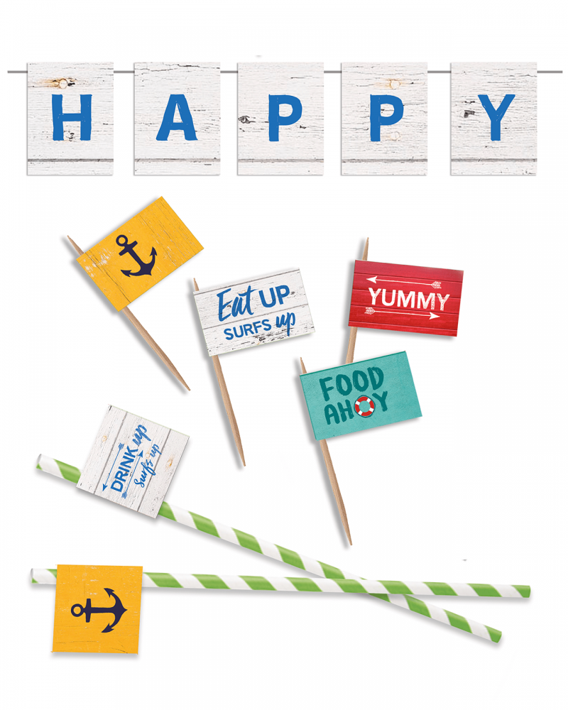 Printable Beach Party Food Flags Straw Flags Editable Collette and Co 3