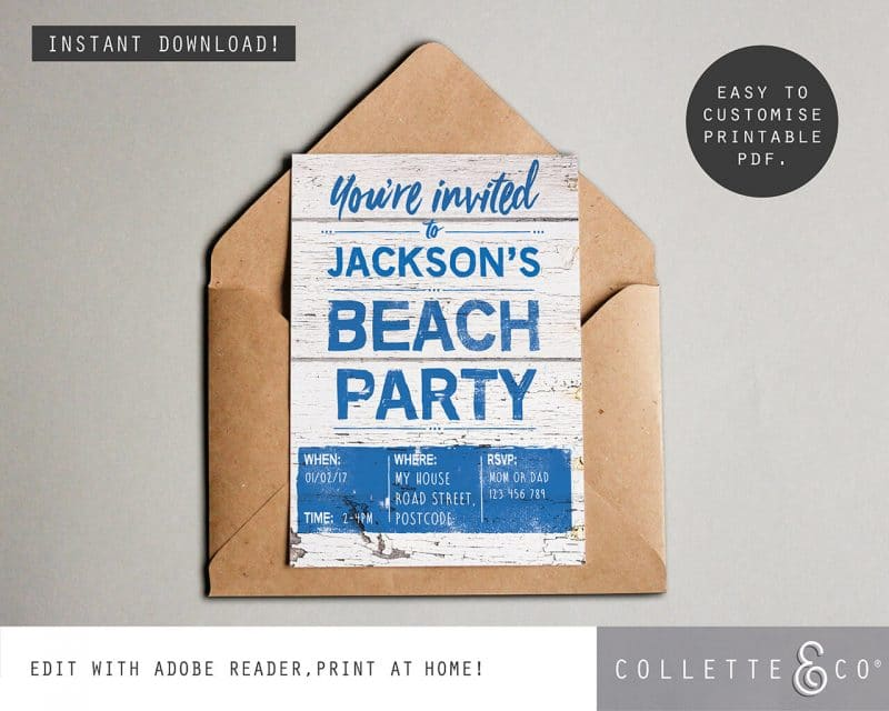 Printable Beach Party Invitation Instant Download Collette and Co 2