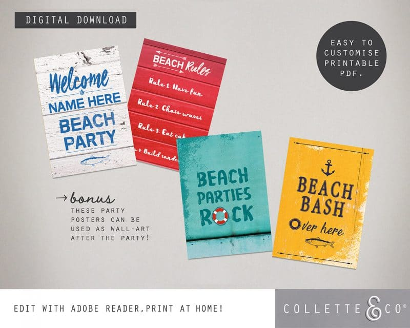 Printable Beach Party Poster Pack x4 Editable Collette and Co 1
