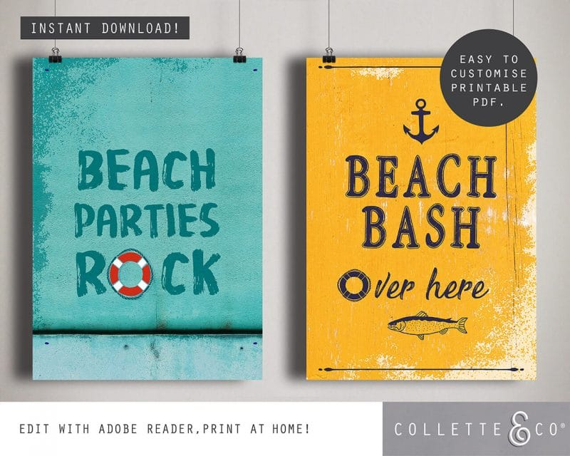 Printable Beach Party Poster Pack x4 Editable Collette and Co 3