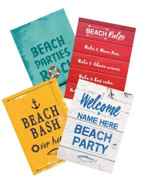 Printable Beach Party Poster Pack x4 Editable Collette and Co 8
