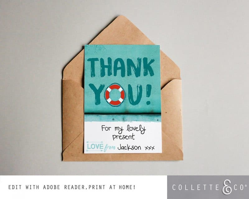 Printable Beach Party Thank You Card Instant Download Collette and Co 1