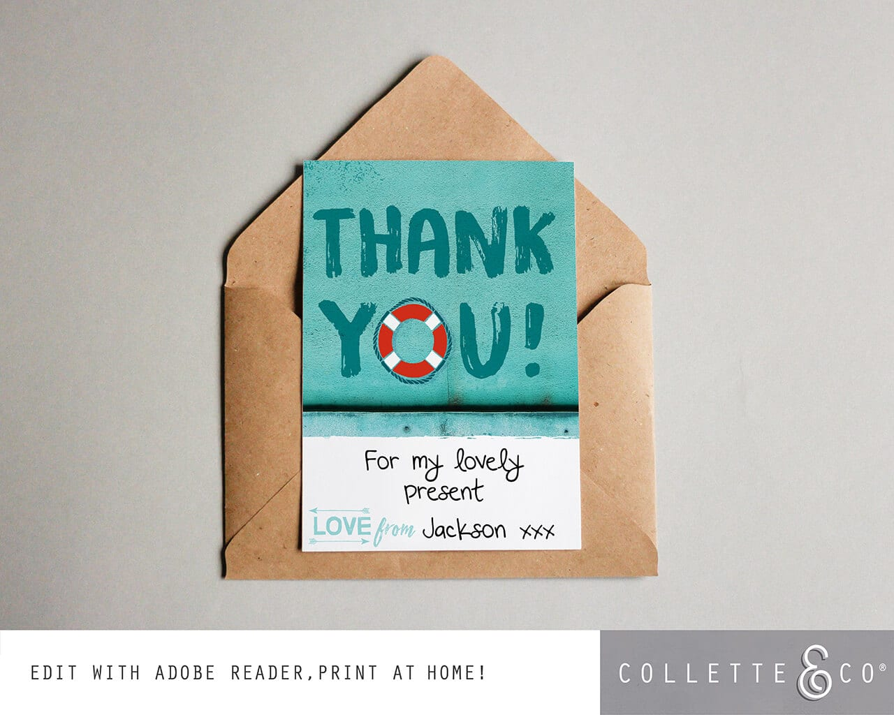 Instant Download Beach Thank You Card Editable thank you Printable beach Editable birthday thank you Thank you Card Beach thank you