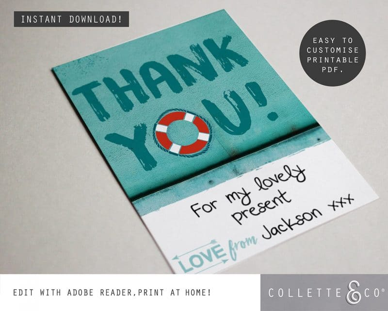 Printable Beach Party Thank You Card Instant Download Collette and Co 2