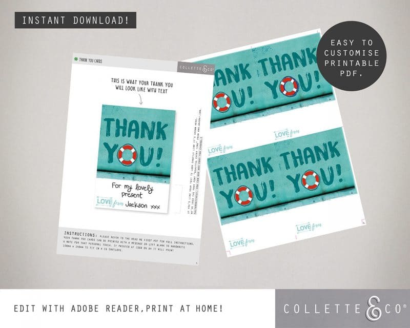 Printable Beach Party Thank You Card Instant Download Collette and Co 3