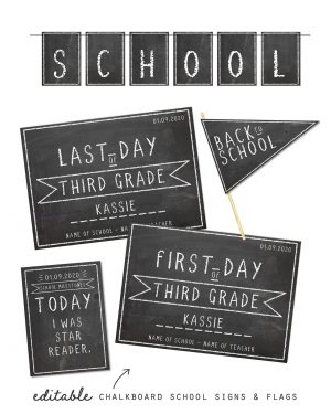 Printable Chalkboard Back to School Sign Pack Editable Collette and Co 1