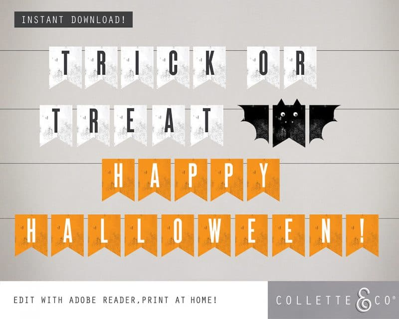 Printable Halloween Bunting Bat Design Collette and Co 4
