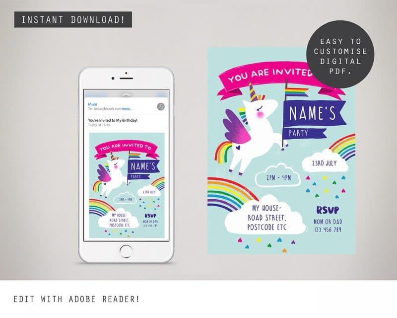 Unicorn Digital Party Invitation Collette and Co 2