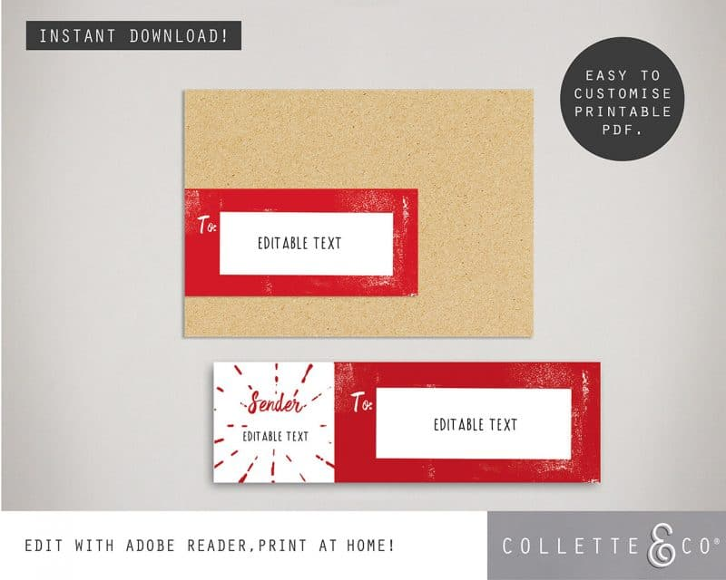 Christmas Cards Envelope Labels Editable Collette and Co 3