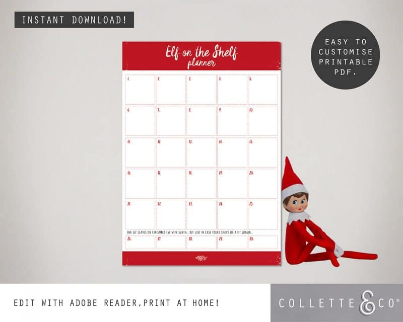 FREE Elf on the Shelf Planner Collette and Co 2