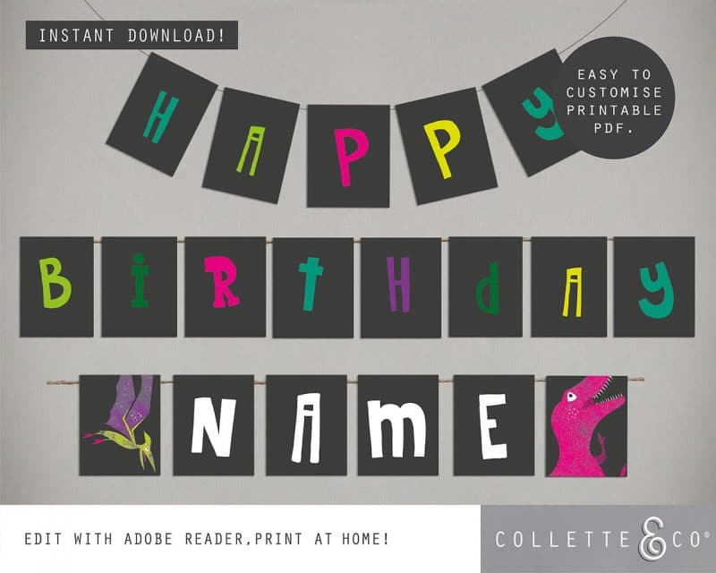 Girl dinosaur party decorations printable Collette and Co 28
