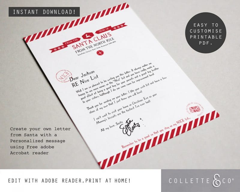 Letter from Santa Editable Collette and Co 1