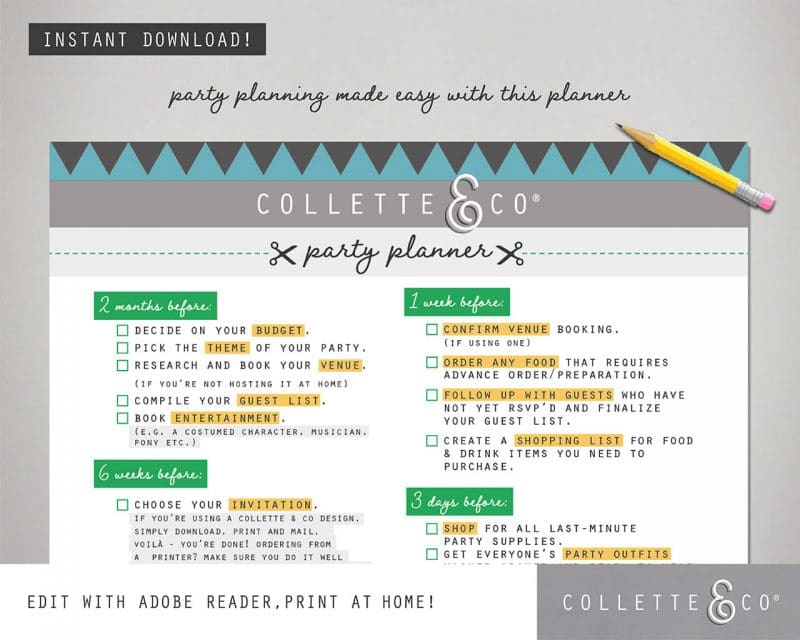 Party Planner Printable Editable Collette and Co 1