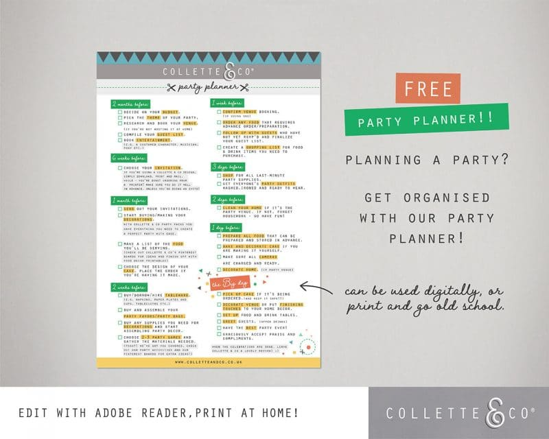 Party Planner Printable Editable Collette and Co 2