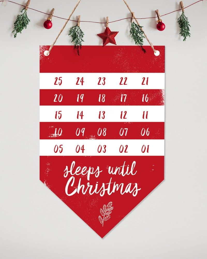 Printable Christmas Countdown Flag Collette and Co 1