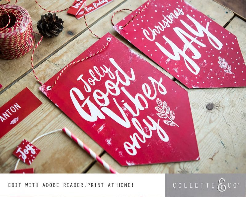 Printable Christmas Decor Banner Flags Collette and Co 3