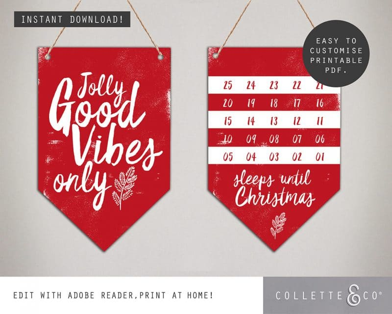 Printable Christmas Decor Banner Flags Collette and Co 4