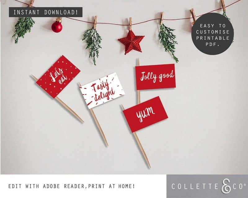 Printable Christmas Decor Food Flags Collette and Co 2
