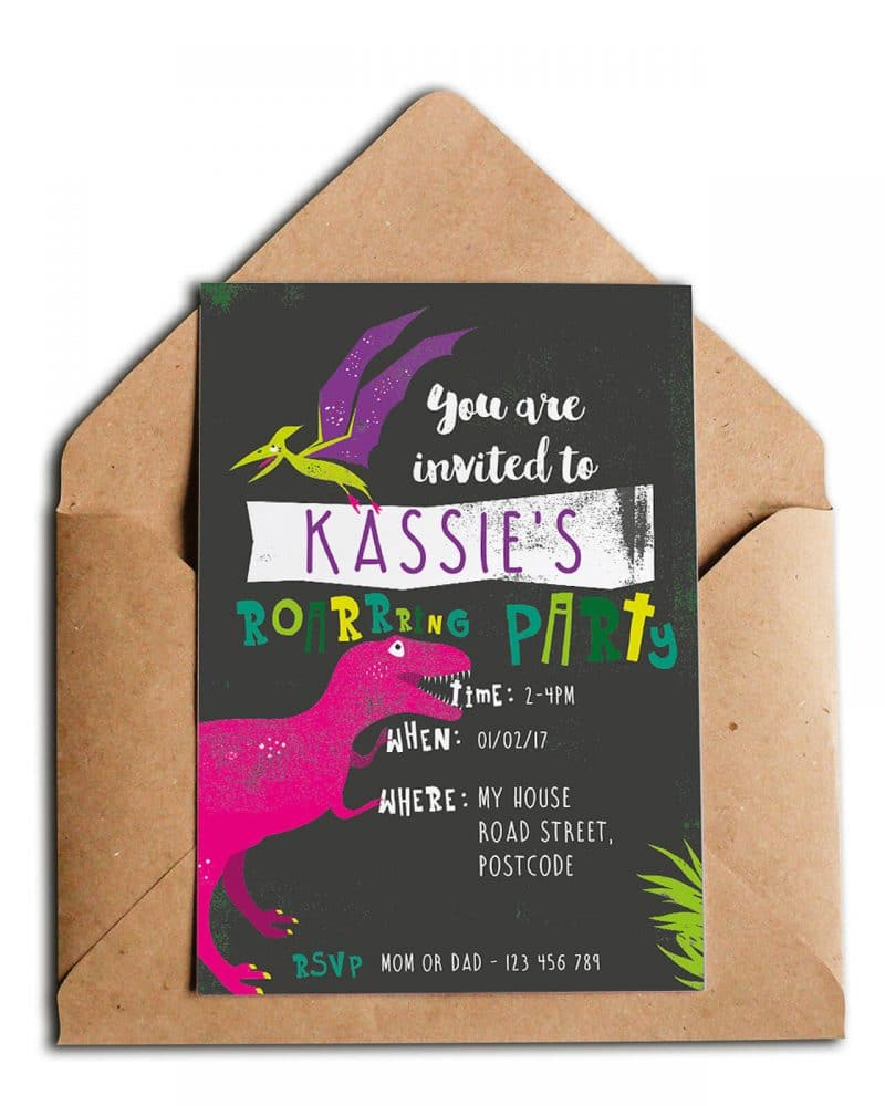 Printable Girl Dinosaur Pink Party Invitation Instant Download Collette and Co 1