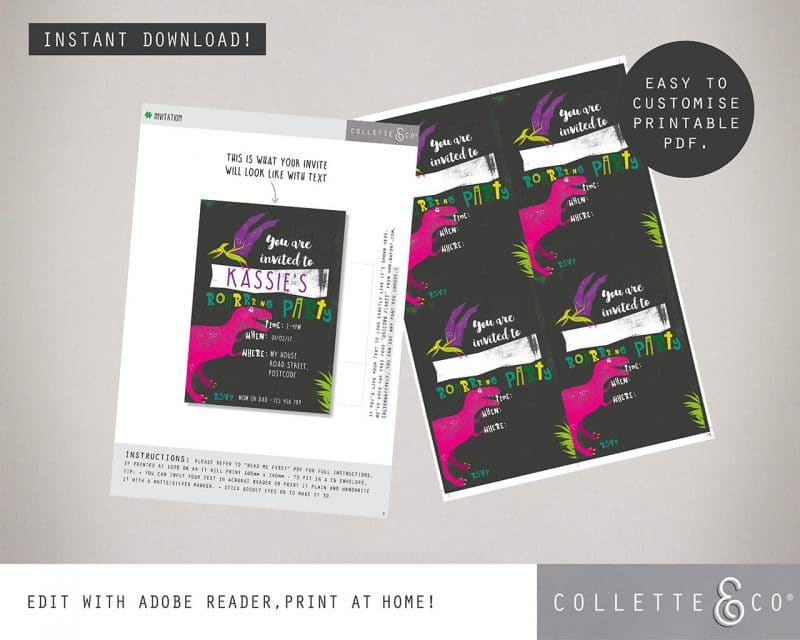 Printable Girl Dinosaur Pink Party Invitation Instant Download Collette and Co 2