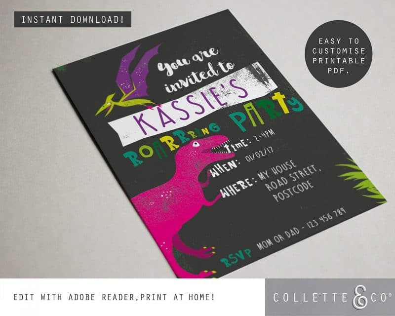 Printable Girl Dinosaur Pink Party Invitation Instant Download Collette and Co 3