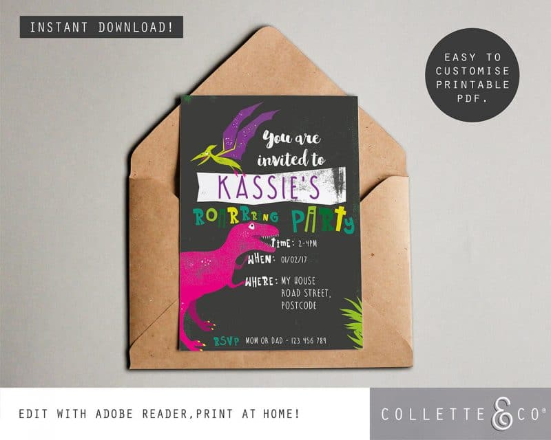 Printable Girl Dinosaur Pink Party Invitation Instant Download Collette and Co 4