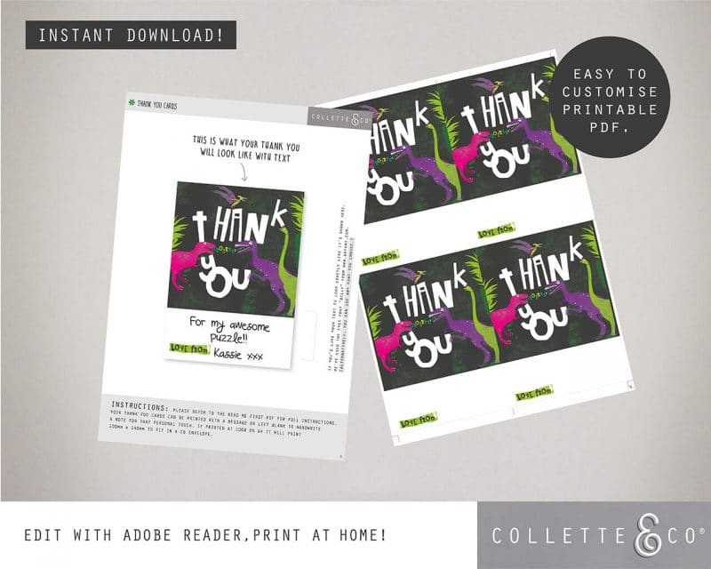 Printable Girl Dinosaur Pink Party Thank You Card Instant Download Collette and Co 2