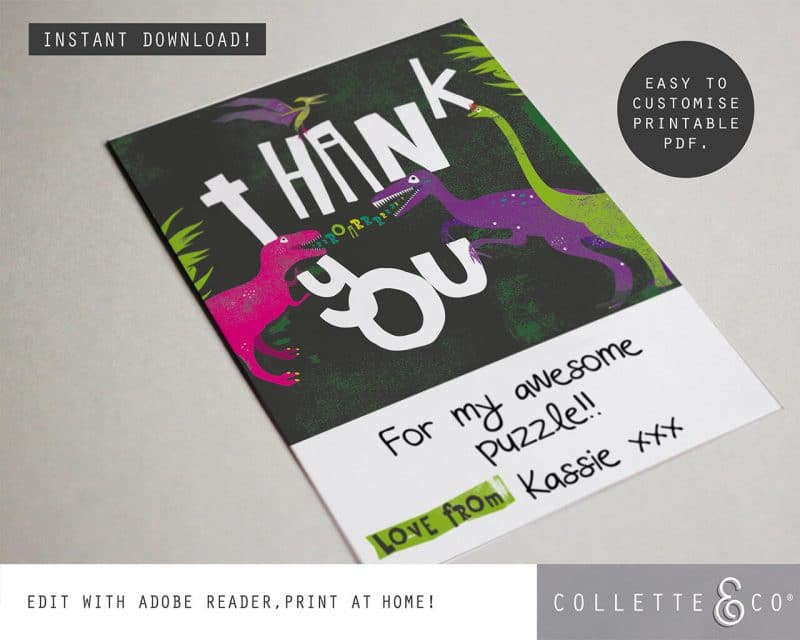 Printable Girl Dinosaur Pink Party Thank You Card Instant Download Collette and Co 3