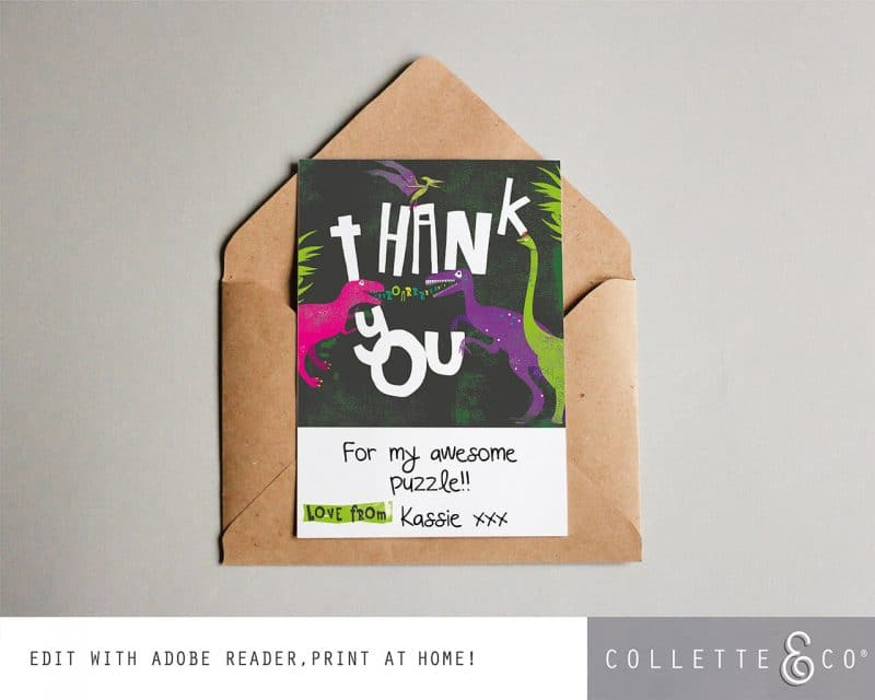 Printable Girl Dinosaur Pink Party Thank You Card Instant Download Collette and Co 4