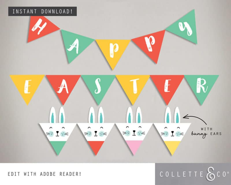 Easter Bunting Printable Collette and co 1