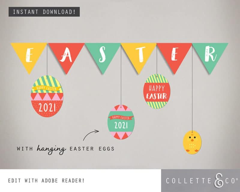 Easter Bunting Printable Collette and co 2