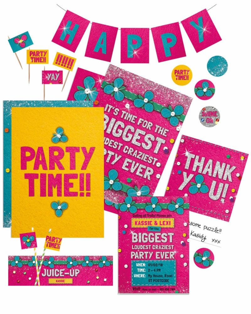 Trolls Party Printables FULL Pack Editable Collette and co 1